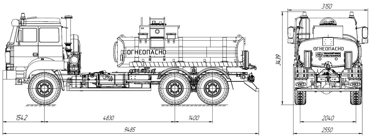 Габаритный чертеж нефтепромысловой автоцистерны АЦН-10 Урал 4320-80Е5