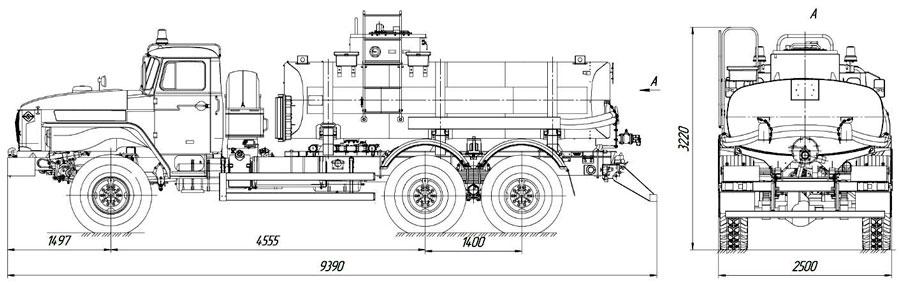 Габаритный чертеж нефтевоза Урал 4320-1912-60Е5 АЦН-10 (002)