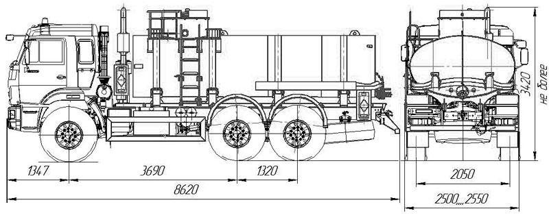 Габаритный чертеж нефтепромысловой автоцистерны АЦН-11 Камаз 43118-3027-50 (01)
