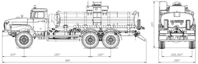 Габаритный чертеж нефтепромысловой автоцистерны АЦН-12 Урал 4320-1912-60Е5 (002)