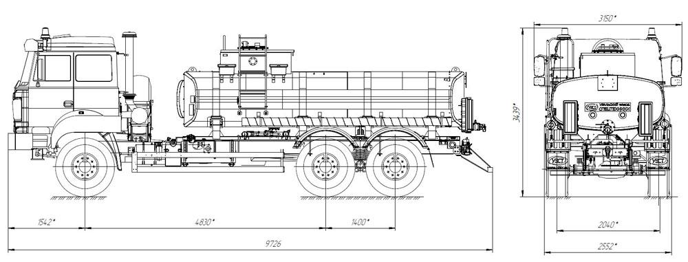 Габаритный чертеж нефтепромысловой автоцистерны АЦН-12 Урал 4320-4972-80Е5 (001)