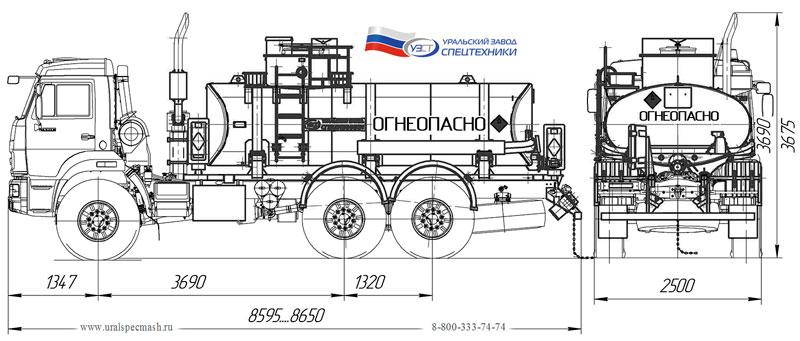 Габаритный чертеж нефтепромысловой автоцистерны на шасси Камаз 43118-3027-50