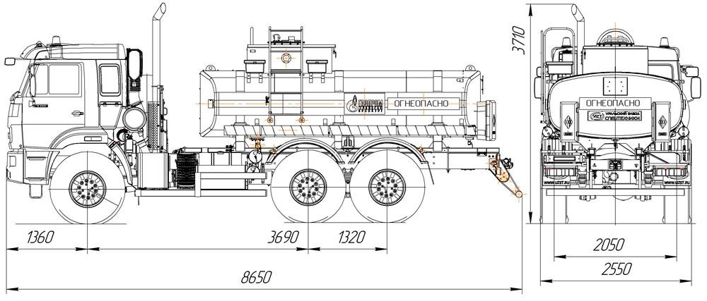 Габаритный чертеж нефтепромысловой автоцистерны АЦН-10 Камаз 43118-3949-50