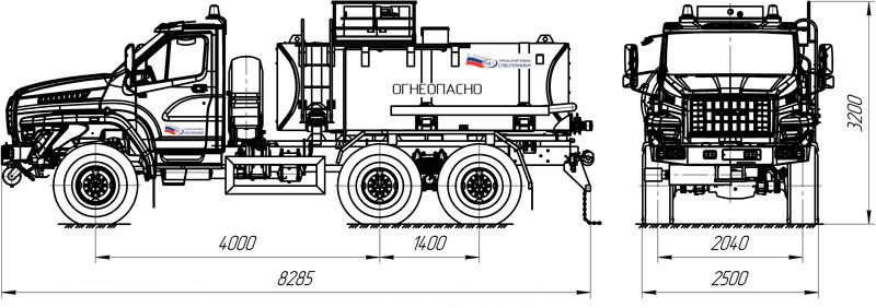 Габаритный чертеж нефтепромысловой автоцистерны АЦН-10 Урал-NEXT 4320-6952-72Е5Г38