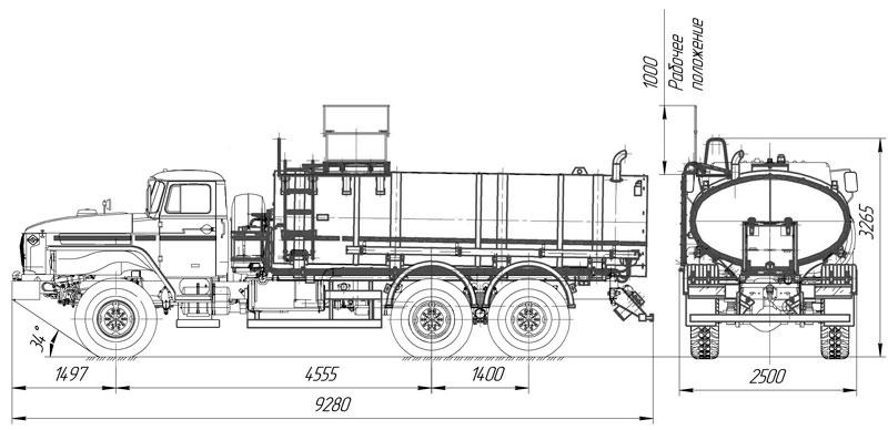Габаритный чертеж пищевой автоцистерны АЦПТ-10 на шасси Урал 4320-1921-60Е5