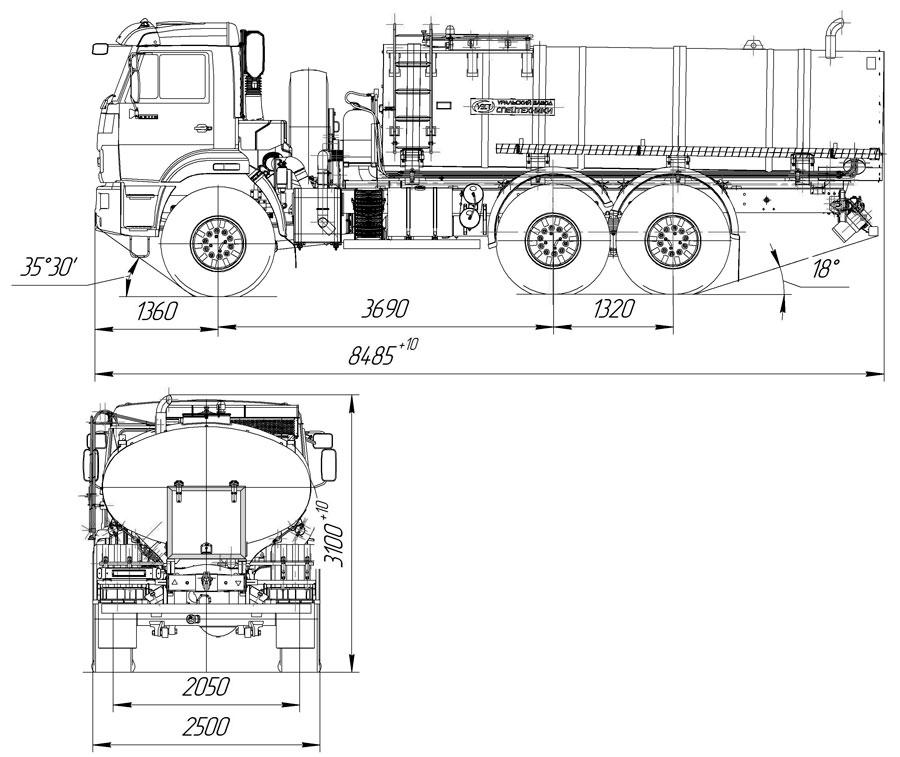 Габаритный чертеж пищевой автоцистерны АЦПТ-10 Камаз 43118-3027-50 (006)