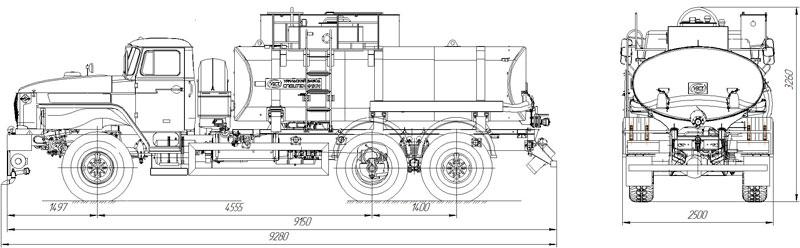 Габаритный чертеж автоцистерны для техводы АЦВ-10 Урал 4320-1934-72Е5И03 (001)