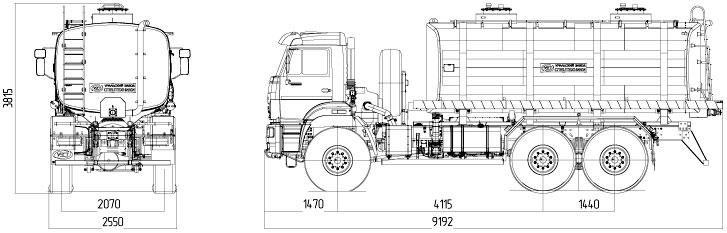 Габаритный чертеж автоцистерны для техводы АЦВ-20 Камаз 65222-3010-53 (001)