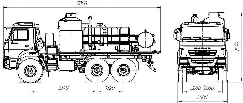 Габаритный чертеж агрегата депарафинизации АДПМ 12/150 Камаз 5350-3029-42