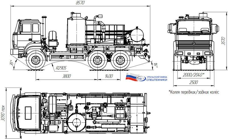 Габаритный чертеж агрегата депарафинизации АДПМ 12/150 на шасси Урал 5557-4156-80Е5