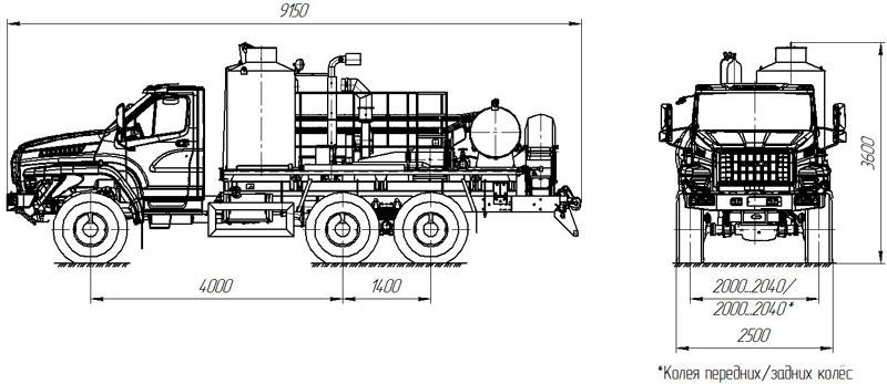 Габаритный чертеж агрегата депарафинизации АДПМ 12/150 Урал-NEXT 5557-6151-72Е5