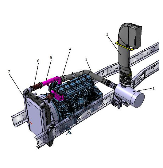 Система питания двигателя воздухом автомобиля Урал С35510