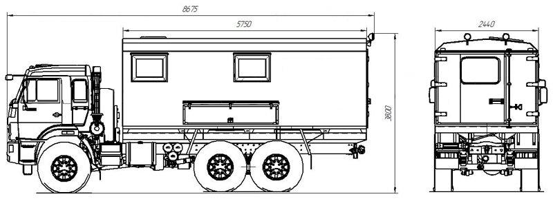 Габаритный чертеж агрегата исследования скважин Камаз 43118-3049-50