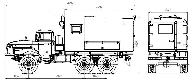 Габаритный чертеж АИС-1 Урал 4320-1112-61Е5