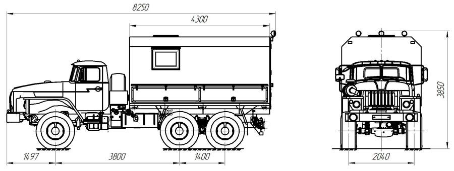 Габаритный чертеж агрегата исследования скважин АИС-1 Урал 4320-1112-61Е5 (002)