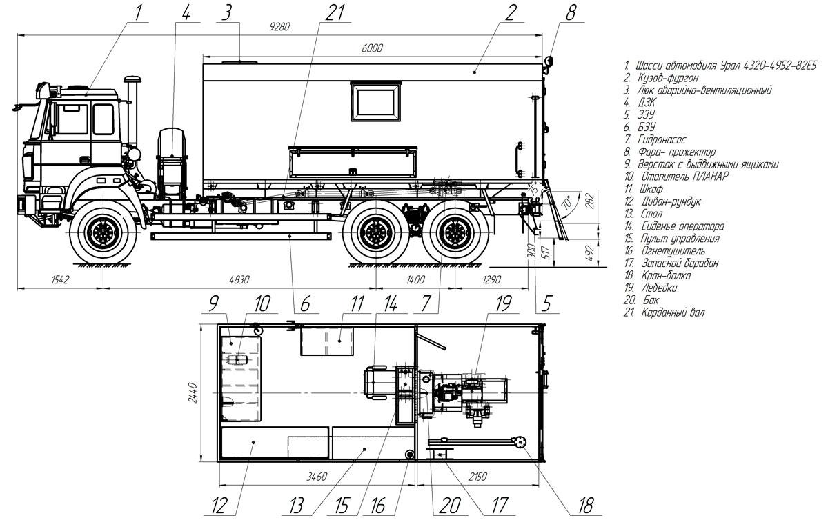 Планировка агрегата исслежования скважин АИС-1 Урал 4320-4952-82Е5 (001)
