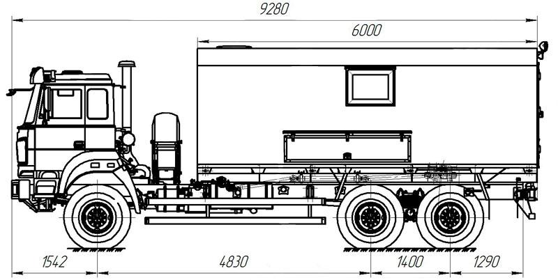 Габаритный чертеж агрегата исслежования скважин АИС-1 Урал 4320-4952-82Е5 (001)