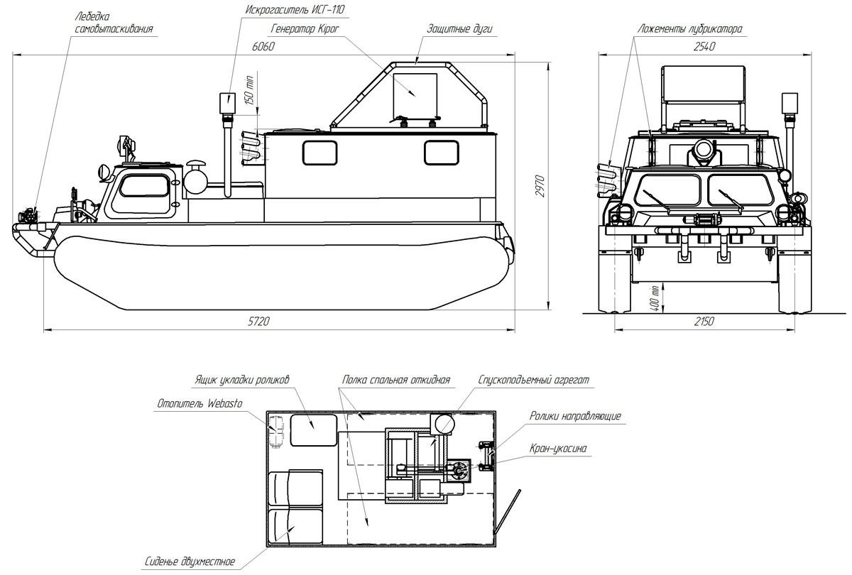Габаритный чертеж агрегата исследования скважин АИС-1 на гусеничном плавающем шасси ГАЗ 34039-33