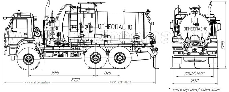 Габаритный чертеж АКН-10 на шасси Камаз 43118-3938-50