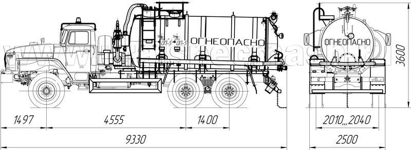 Габаритный чертеж АКН-10 с ручным открыванием днища на шасси Урал 4320-1951-60Е5