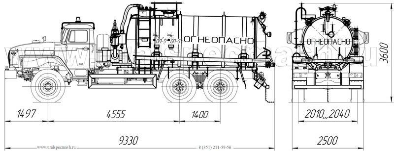 Габаритный чертеж АКН-10 Урал 4320-1912-60Е5