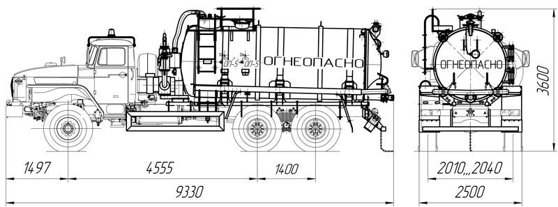 Габаритный чертеж АКН-10 (ОД) Урал 4320-1912-60Е5