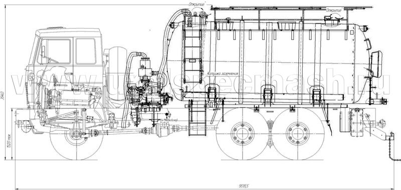 Габаритный чертеж агрегата для сбора газового конденсата АКН-15 МАЗ 6317Х5