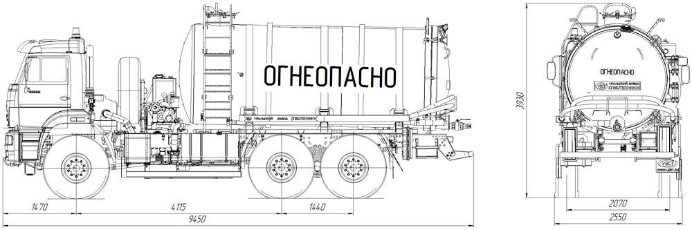 Габаритный чертеж агрегата сбора газового конденсата АКН-16 Камаз 65222-3010-53 (001, ОД, КО-505)