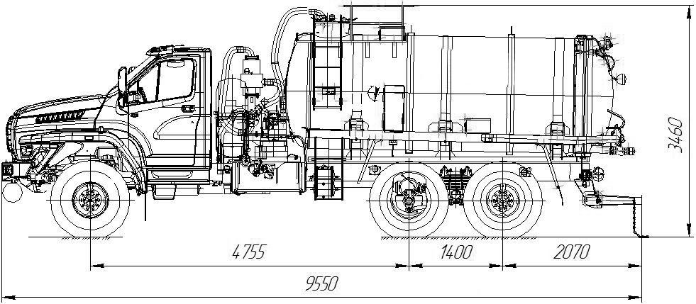 Габаритный чертеж АКН-10 (ОД) Урал-NEXT 4320-6952-74Е5Г38