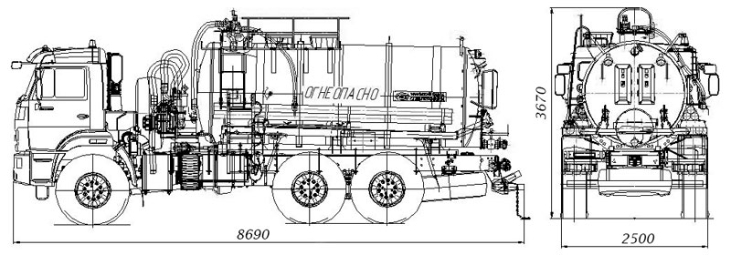 Габаритный чертеж агрегата сбора газового конденсата АКН-10 Камаз 43118-3017-50