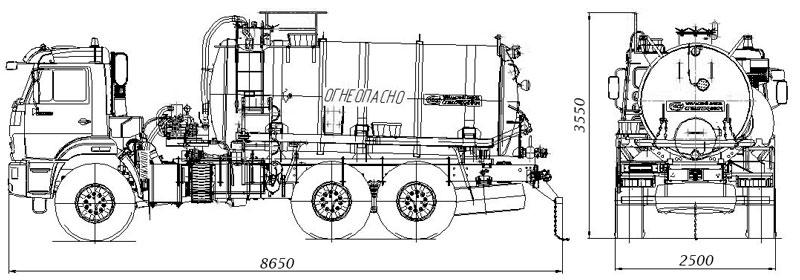 Габаритный чертеж агрегата сбора газового конденсата АКН-10 Камаз 43118-3027-50