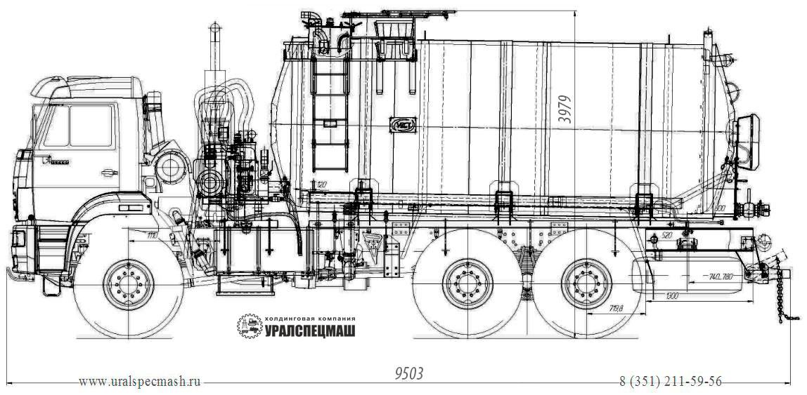 Габаритный чертеж агрегата сбора газового конденсата АКН-16 Камаз 65222-3010-53