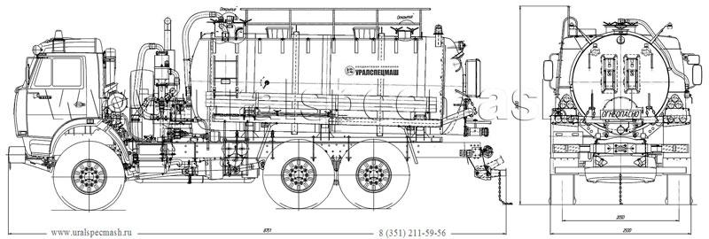 Габаритный чертеж АКН-10 Камаз 43118-3027-50