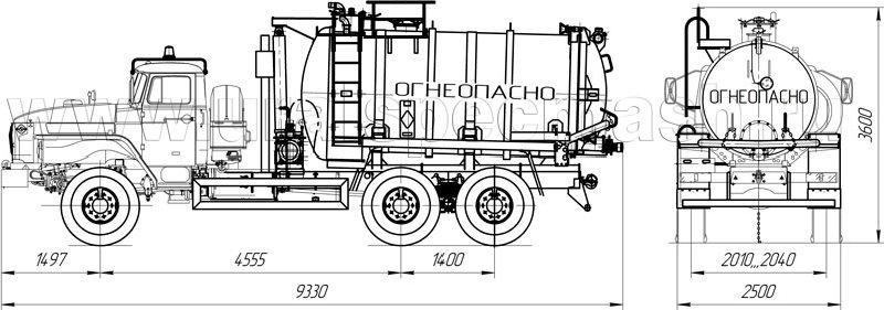Габаритный чертеж АКНС-10 Урал 4320-1912-60Е5