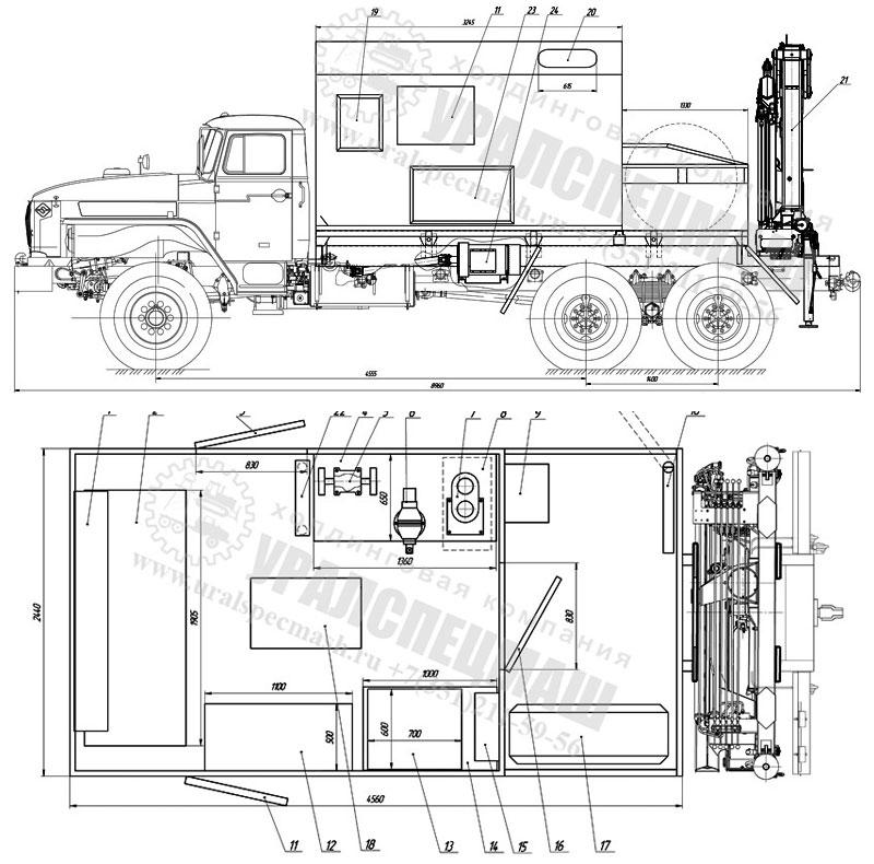 Планировка Агрегат для наземного ремонта водоводов на шасси УРАЛ 4320-1912-60Е5