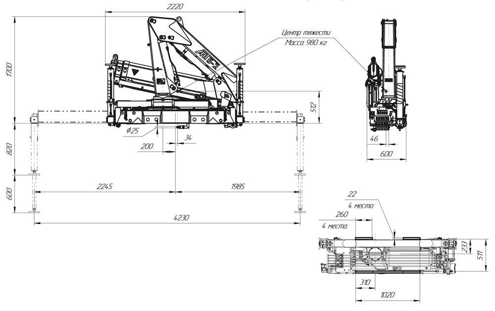 Габаритный чертеж крано-манипуляторной установки АНТ 5-2