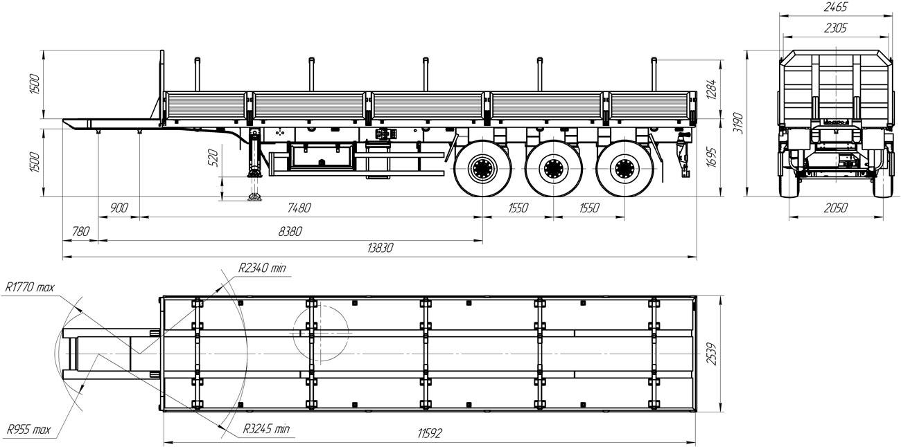Габаритный чертеж полуприцепа-штанговоза УЗСТ 9174-03Б3