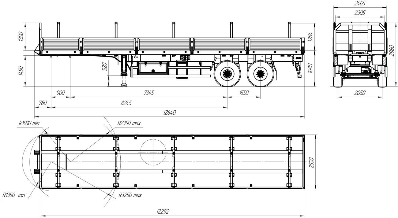 Габаритный чертеж полуприцепа-штанговоза УЗСТ 9175-12Б2