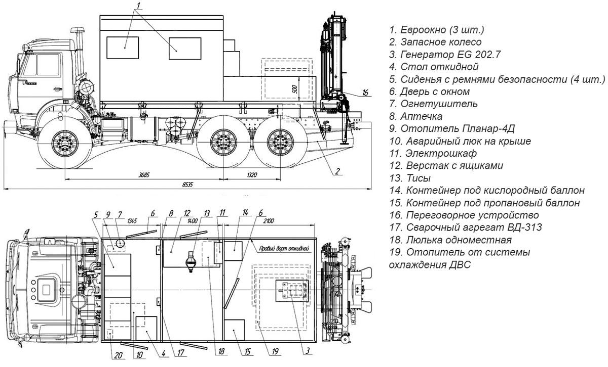 Планировка АРОК Камаз с КМУ АНТ 4.4-1