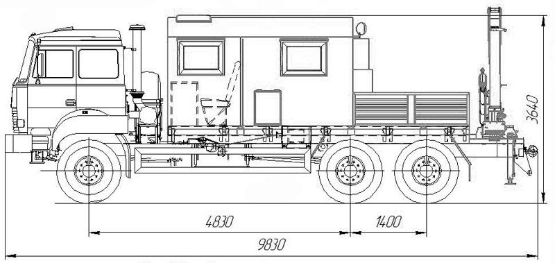 Габаритный чертеж агрегата ремонта и обслуживания качалок на шасси Урал 4320-4972-82Е5 с КМУ АНТ 4.4-1