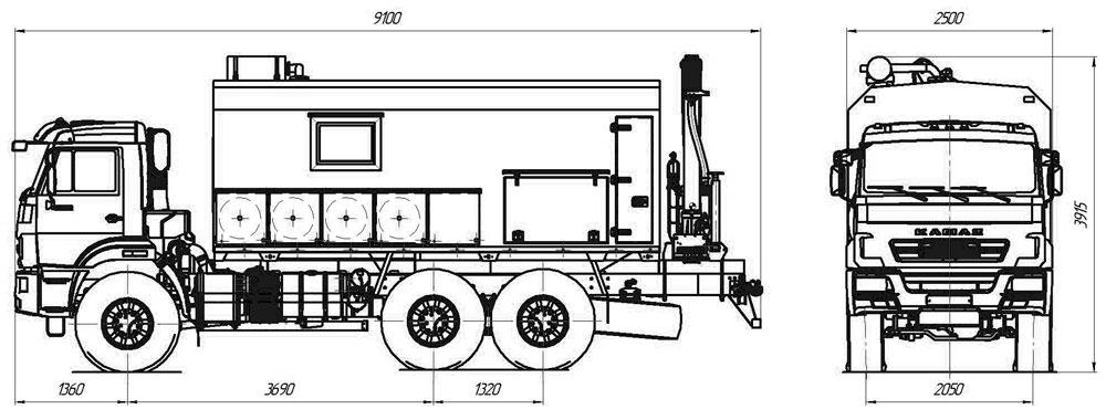 Габаритный чертеж ремонтно-сварочного агрегата АРС Камаз 43118-3011-50 с КМУ АНТ 4.4-1 (001)