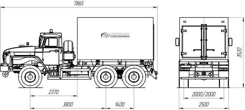 Фургон для перевозки взрывчатых веществ АС Урал 4320-1112-61Е5