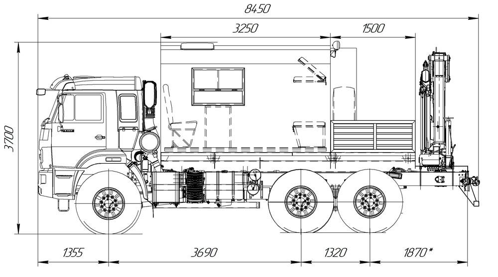 Габаритный чертеж аварийно-спасательного автомобиля Камаз 43118-3027-50 с КМУ АНТ 8.5-2
