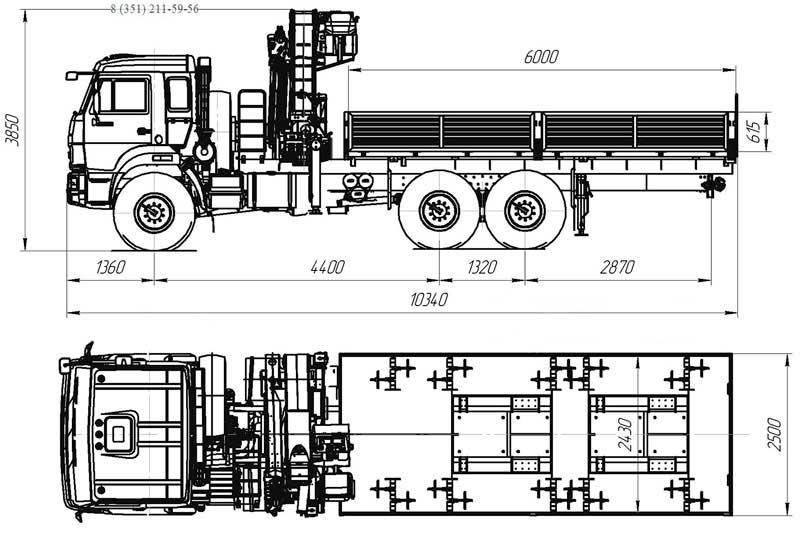 Габаритный чертеж АТЭ-8 Камаз 43118-3078-46 с КМУ ИМ-320