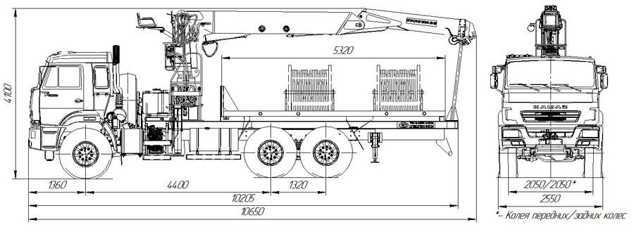 Габаритный чертеж агрегата транспортировки барабанов и насосов АТЭ-6 Камаз 43118-3027-50 с КМУ АНТ 27-1 (007)