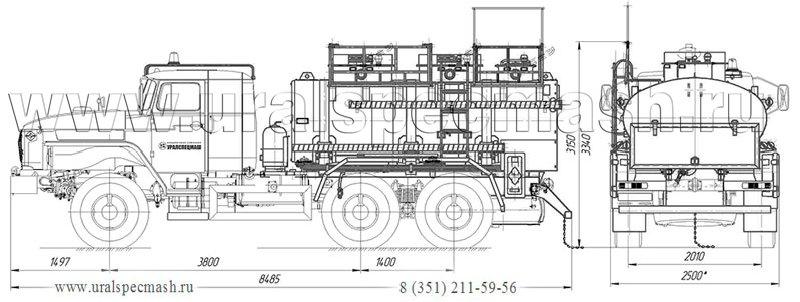 Габаритный чертеж автотопливомаслозаправщика АТМЗ-7,5 Урал 5557-1112-72Е5