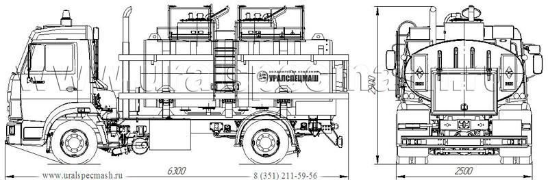 Габаритный чертеж автотопливомаслозаправщика АТМЗ-6,5 на шасси Камаз 4308-3016-25