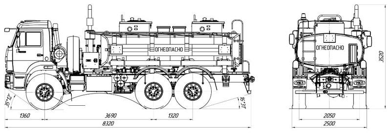 Габаритный чертеж автотопливозаправщика АТЗ-10 Камаз 43118-3027-50 (005)