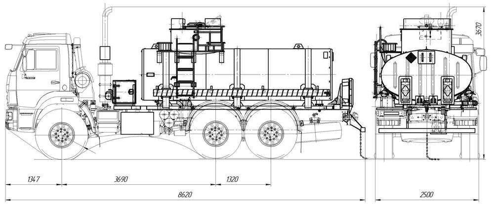 Габаритный чертеж автотопливозаправщика Камаз 43118-3017-50