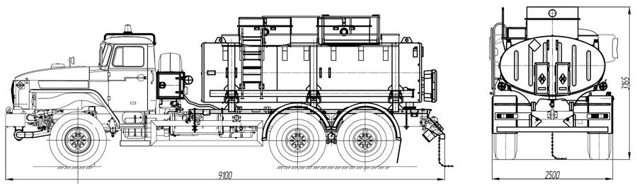 Габаритный чертеж топливозаправщика АТЗ-10 Урал 4320-1912-60Е5